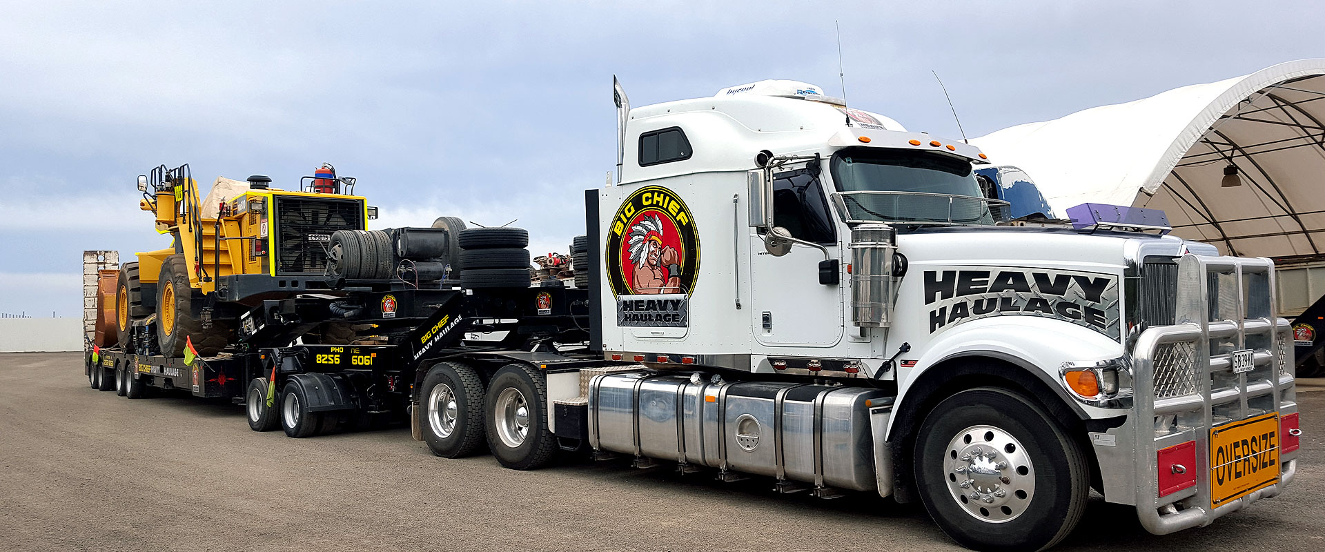Big Chief Heavy Haulage Truck with oversize load on trailer