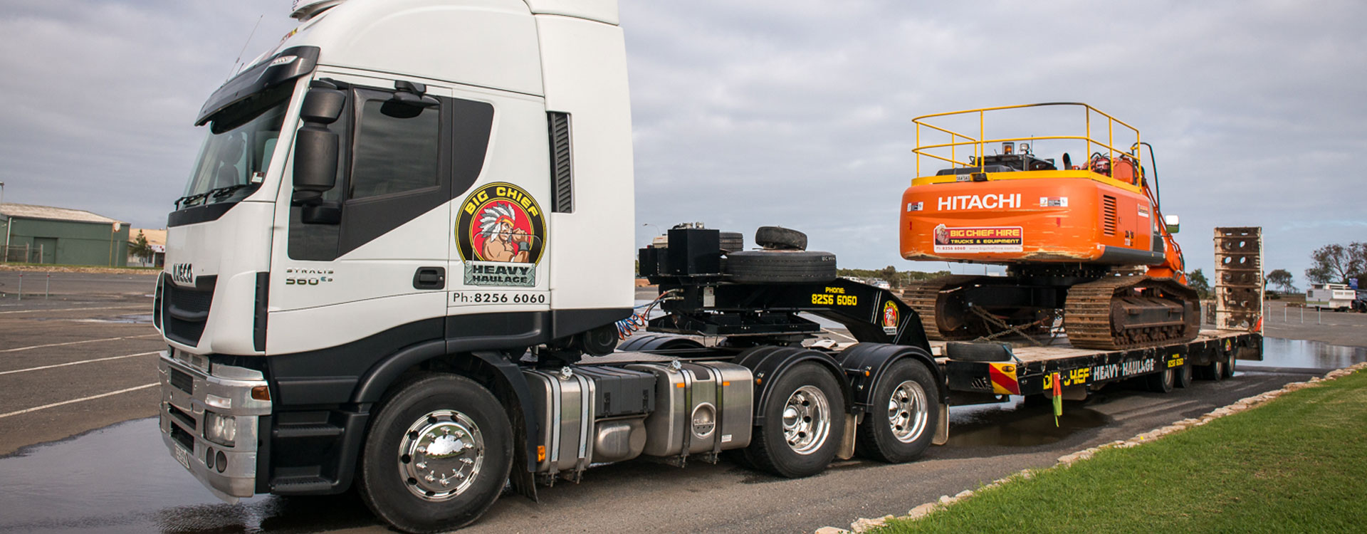 Big Chief Heavy Haulage Prime-mover Truck with excavator on trailer